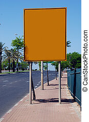 yellow blank Street Sign - A Blank yellow Sign on a pole