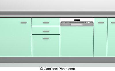 Dishwasher in the kitchen