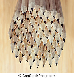 pencil composition still life wooden background