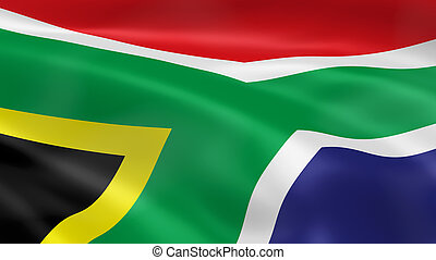 South Africa Flag - South Africa flag in the wind. Part of a...