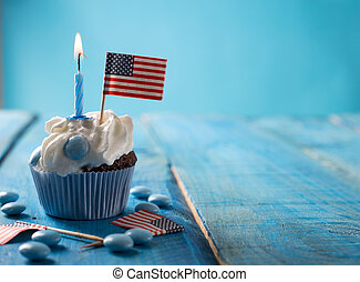 4th july - Independence day concept with cupcake and USA-s...