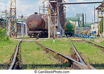 Old railway fuel tanks on the station
