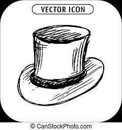 steampunk top hat , hand drawn vector illustration