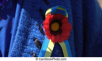 Red Poppy for May 9 - woman with red poppy yellow Ukrainian...