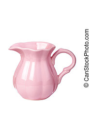 Pink cream jug - Old fashioned cream jug isolated against...
