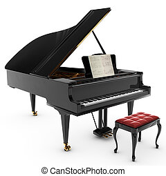 Grand Pianio - A beautiful classic grand pianio, Isolated on...