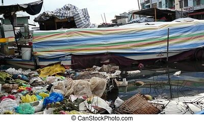Rubbish River Environment Pollution - Plastic bags, bottles,...