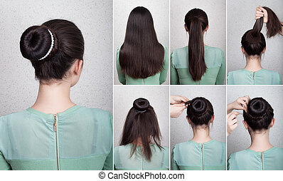 Hairstyle tutorial elegant bun with chignon and string of...