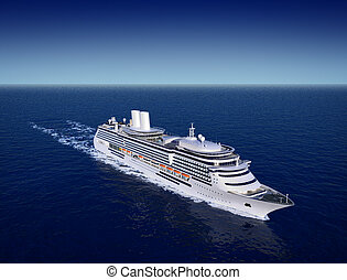cruise ship - luxury white cruise ship shot from air on a...