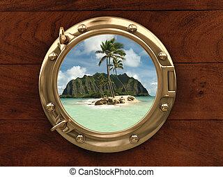 Land Ho! - Porthole inside a ship with a view of a deserted...