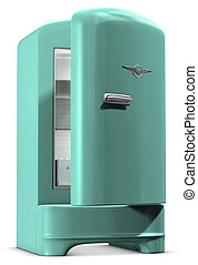Retro Fridge - A retro turquoise colored refrigerator on...