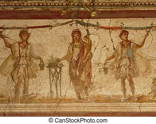 Wall fresco at Pompeii, Italy - Fresco at the ancient Roman...