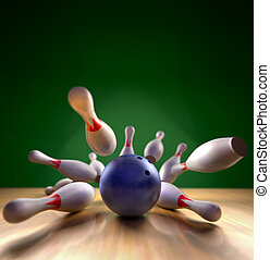 Bowling Strike - A fun 3d render of a bowling ball crashing...