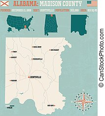 Madison County in Alabama USA - Large and detailed map and...