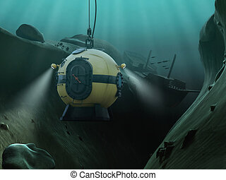 Diving Bell - Diving bell descending into an underwater...