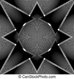 Geometric monochrome stripy overlay seamless pattern, black...