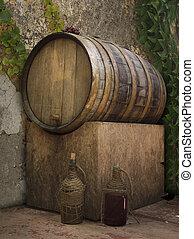 Wine Vat - Barrel of wine in a rustic setting