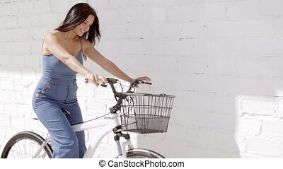 Healthy fit young woman riding her bicycle - Healthy...