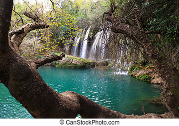 Kursunlu Waterfall Scene - View of Kursunlu Waterfall in...