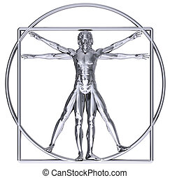 Vitruvian Man - Chrome Vitruvian man isolated on white