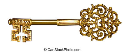 Gold Master Key on White - Ornate, gold master key on white...