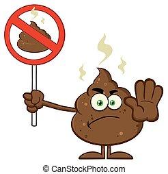 Angry Poop Character Gesturing - Angry Poop Cartoon Mascot...