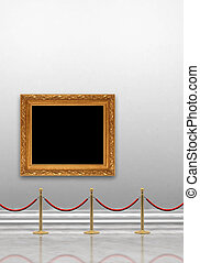 Art Gallery - Art museum gallery with blank painting frame...
