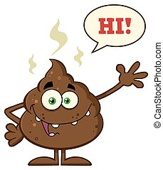 Funny Poop With Speech Bubble - Funny Poop Cartoon Character...