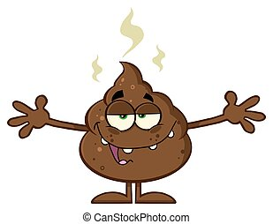 Happy Funny Poop With Open Arms - Happy Funny Poop Cartoon...