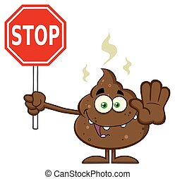Smiling Poop Holding A Stop Sign - Smiling Poop Cartoon...