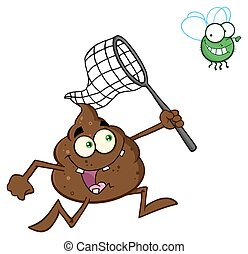 Poop Catching A Fly With A Net - Funny Poop Cartoon...