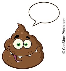 Happy Poop With Speech Bubble - Happy Poop Cartoon Mascot...