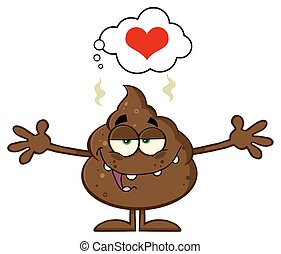 Poop With Open Arms And A Heart - Happy Funny Poop Cartoon...