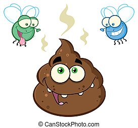Two Flies Hovering Over Pile Poop - Two Flies Hovering Over...