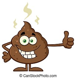 Smiling Poop Giving A Thumb Up - Smiling Poop Cartoon Mascot...