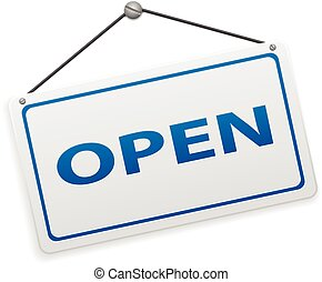 Open sign board on a white background