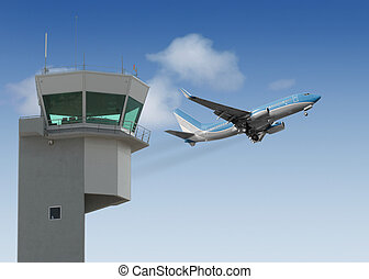 Take-Off - Airport tower with jet taking off in the...