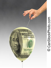 Economic Bubble - balloon printed with a hundred dollar bill...