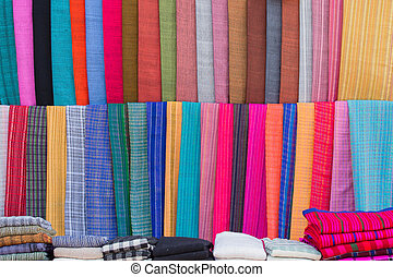 Scarves at a market on the Inle lake in Myanmar - Colorful...