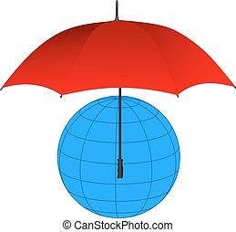 Globe under red umbrella. Vector il