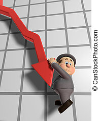 """Wilfred Declining Graph - 3D illustration of \""""Wilfred\""""..."""