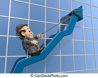 Wilfred Inclining Graph - 3D illustration of Wilfred Hanging...