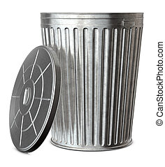 Trash Can - A galvanized trash can with the lid-off on a...