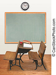 Retro Classroom - Vintage classroom with chalkboard and...