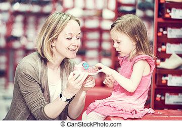 買い物, 靴, 家族, はき物, 選択, 子供