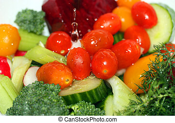 Washing Vegetables - Washing fresh vegetables in colander
