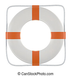 Lifesaver - A white and orange lifesaver including clipping...