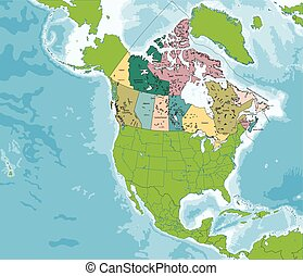 Map of Canada - Colorful Canada map with provinces and...