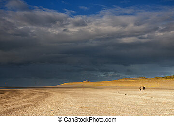 Beachwalk on the Maasvlaktestrand - Two people making a...