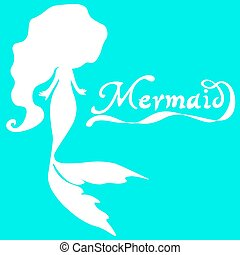 cute fairy swimming mermaid with long curly hair silhouette...